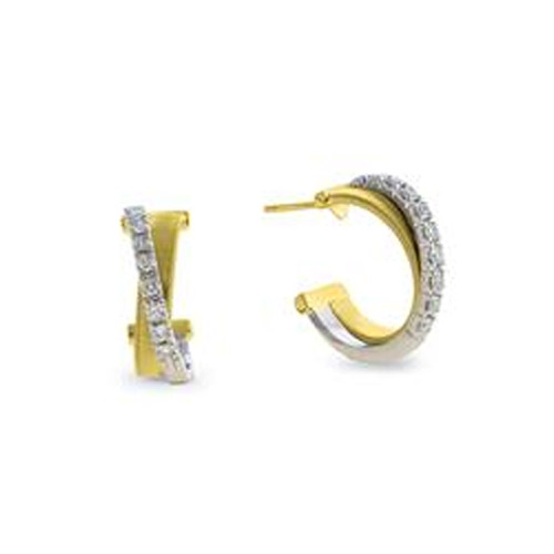 Masai Yellow and White Gold Cross Over Pave Diamond Small Hoop Earrings
