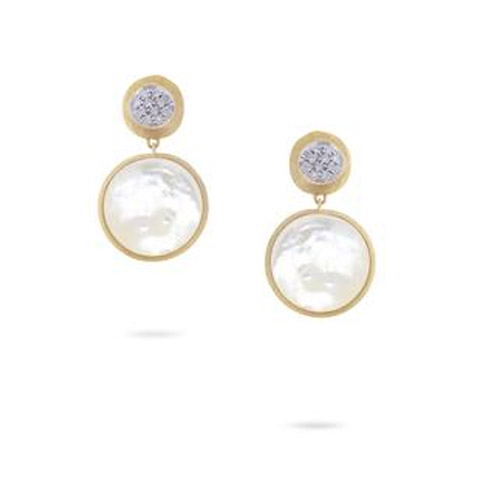 jaipur double drop earrings with white mother of pearl & diamonds