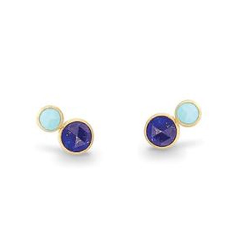 jaipur two stone stud with lapis and turquoise
