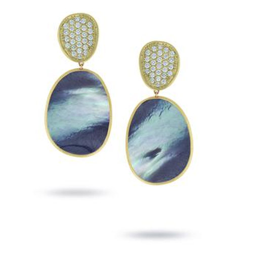 Lunaria Large Yellow Gold Black Mother of Pearl & Diamond Earrings