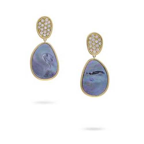 Lunaria Small Yellow Gold Black Mother of Pearl & Diamond Earrings