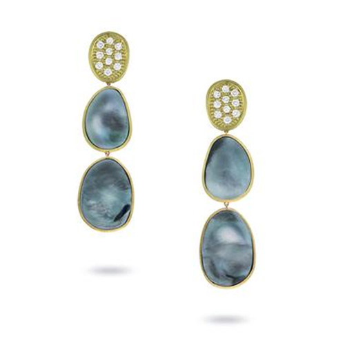 Lunaria Black Mother of Pearl & Diamond Pave Small Triple Drop Earrings
