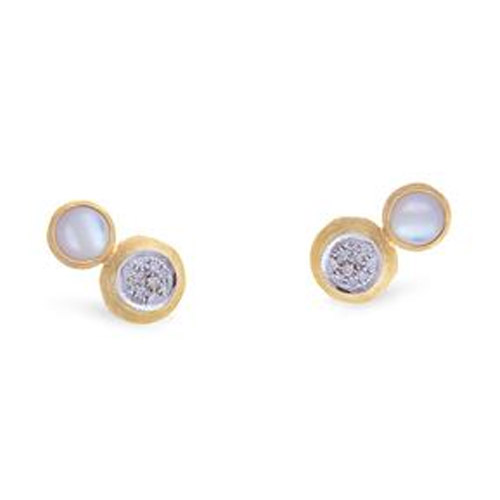 Jaipur Two Stone Stud with Diamond and white Mother of Pearl