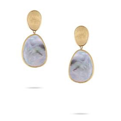 Lunaria Petite Gold & Black Mother of Pearl Earrings
