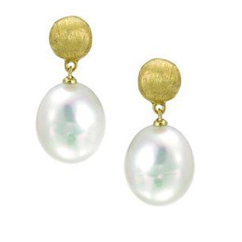 Africa Gold & Pearl Small Drop Earrings