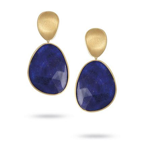 Lunaria Large Gold & Lapis Earrings