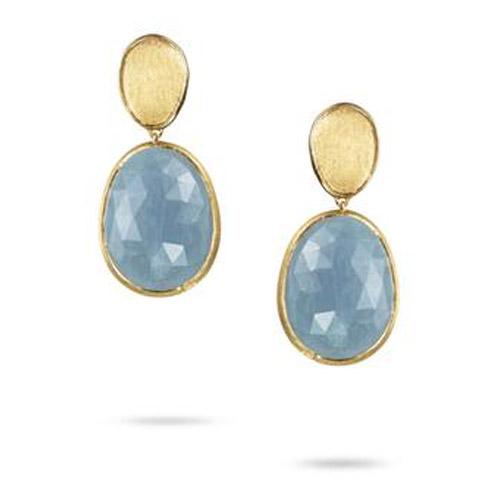 Lunaria Small Gold &  Aquamarine Earrings