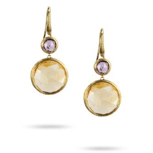 Jaipur Amethyst & Citrine Double Drop French Wire Earrings