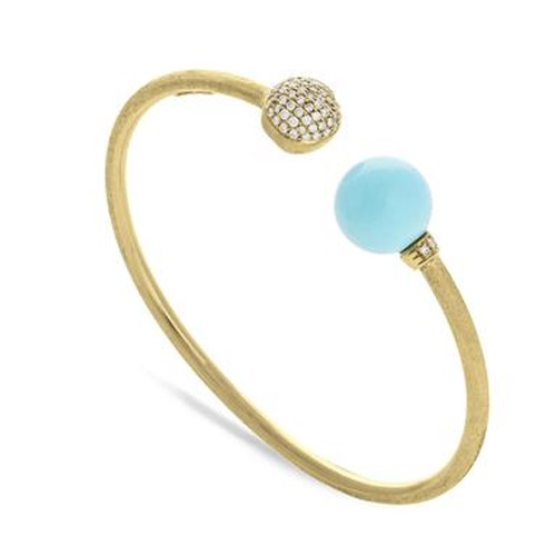 Africa Turquoise with Diamond Pave Kissing Bangle