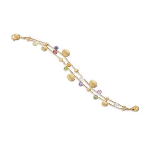 Paradise Mixed Stone & Gold Tear Drop Two Strand Bracelet