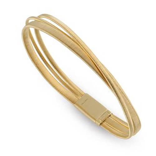 Masai Three Row Crossover Bracelet In Yellow Gold