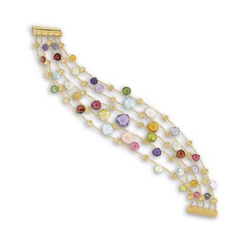 Paradise Mixed Stone Five Strand Graduated Bracelet