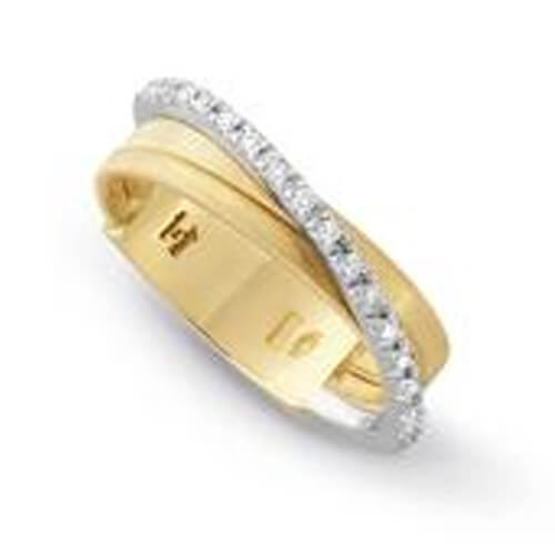 Goa Three Strand Crossover Pave Diamond Ring In Yellow Gold