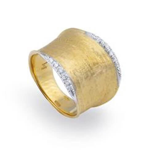 Lunaria Gold & Diamond Pave Medium Ring