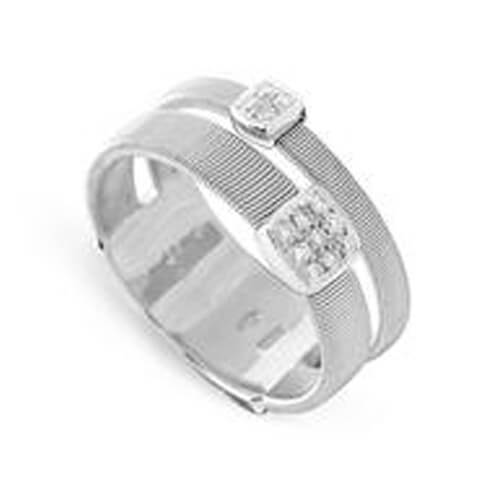Masai Two Strand Ring with Diamonds in White Gold