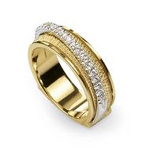 Cairo Gold & Diamond Three Strand Woven Ring