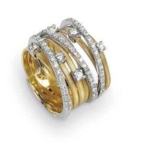 Goa Nine Strand Diamond & Pave Ring In Yellow Gold