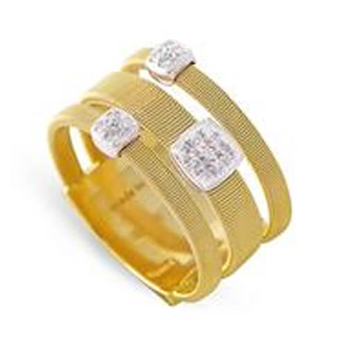 Masai Three Strand Ring with Diamonds in Yellow Gold