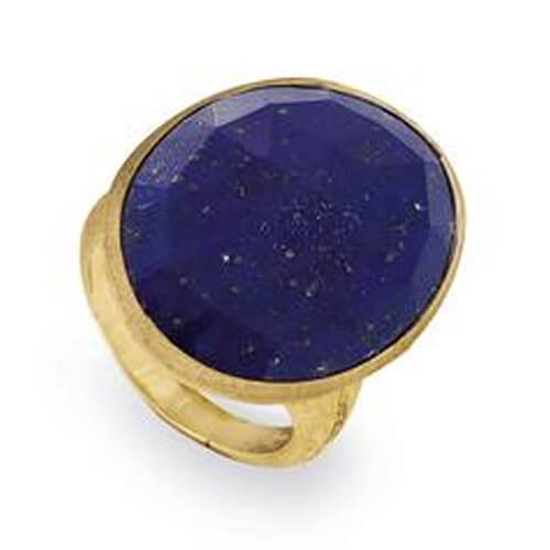 Lunaria Gold & Lapis Cocktail Ring