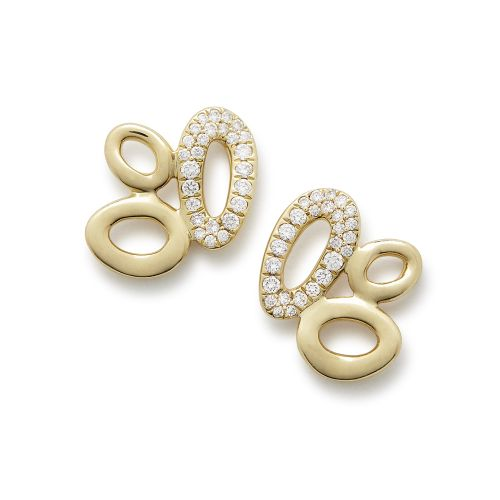 Cluster Stud Earrings in 18K Gold with Diamonds