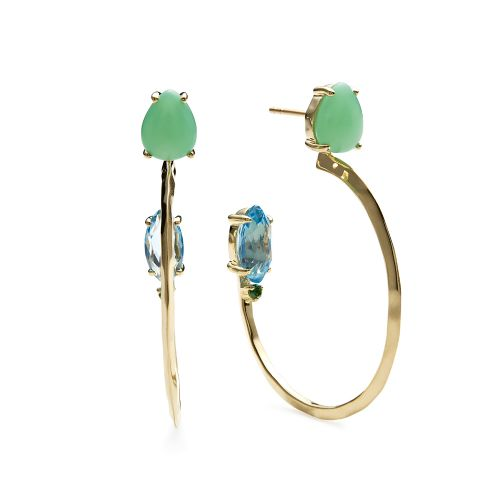 Double Sides Stone Medium Hoop Earrings in 18K Gold
