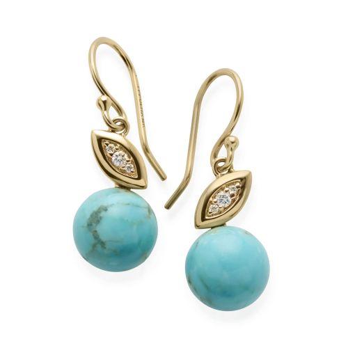Drop Earrings in 18K Gold with Diamonds