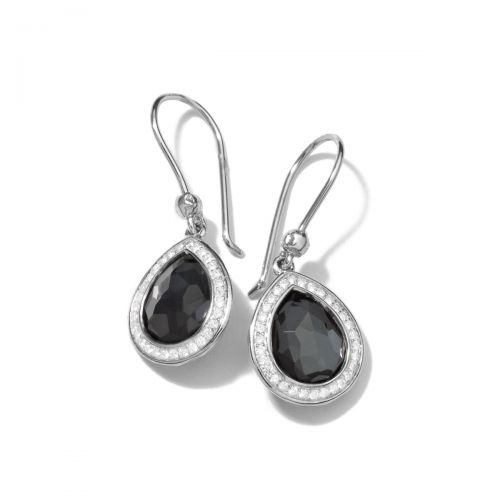 mini teardrop earrings in sterling silver with diamonds