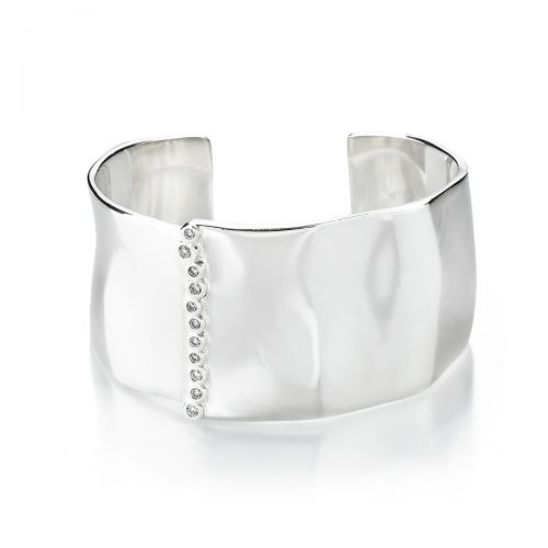 Cuff Bracelet in Sterling Silver with Diamonds