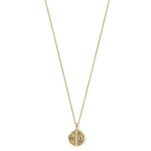 Mini Disc Pendant Necklace in 18K Gold with Diamonds