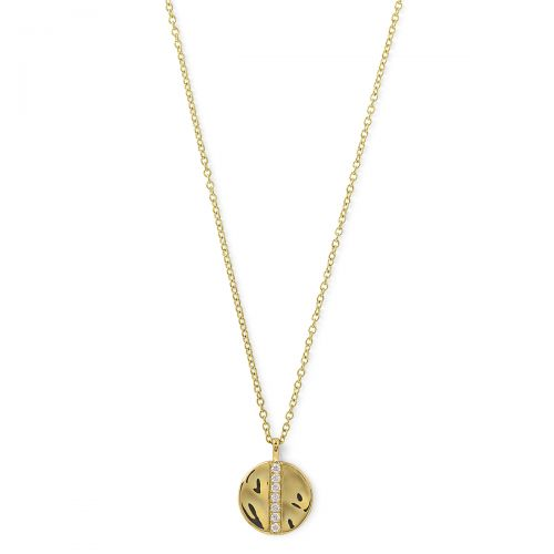 disc pendant necklace in 18k gold with diamonds