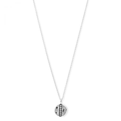 Mini Disc Pendant Necklace in Sterling Silver with Diamonds