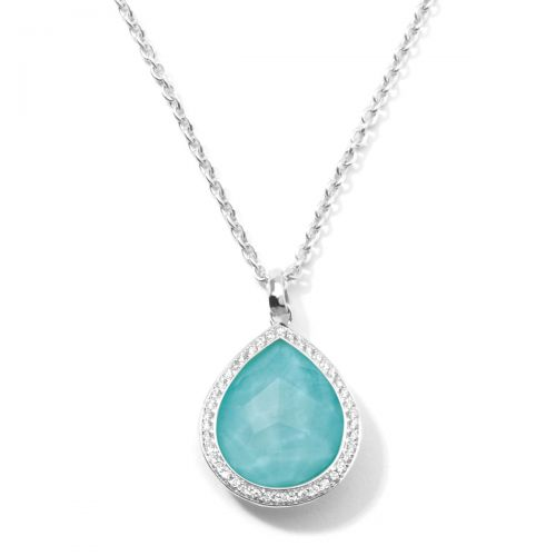teardrop pendant necklace in sterling silver with diamonds