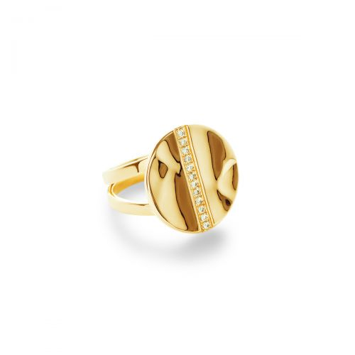 Disc Ring in 18K Gold with Diamonds