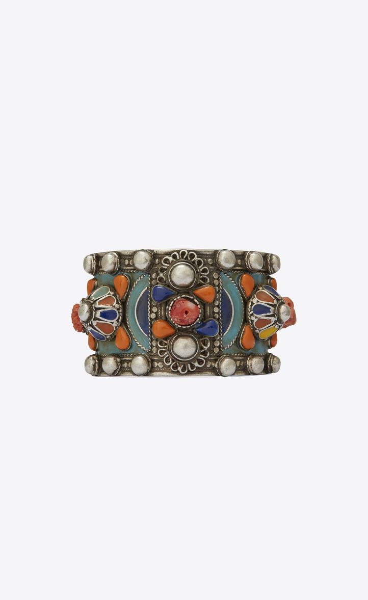 MARRAKECH cuff bracelet in tin, brass, coral and blue enamel