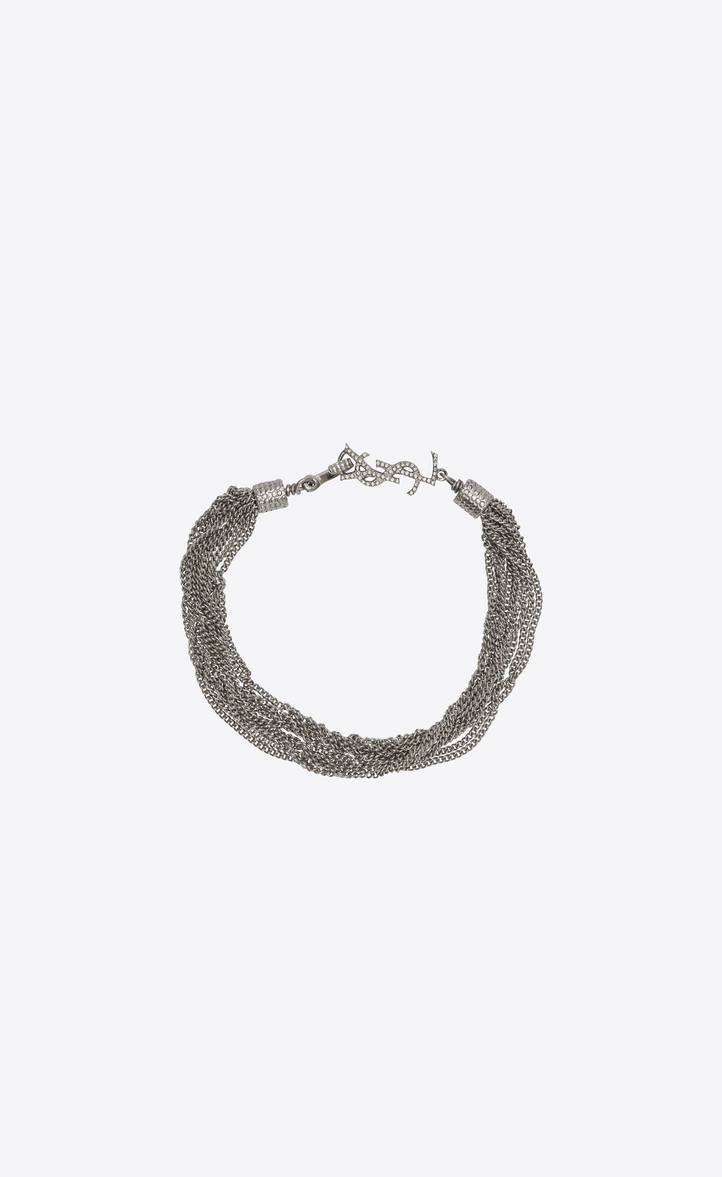 LOULOU necklace with twisted chains in silver brass