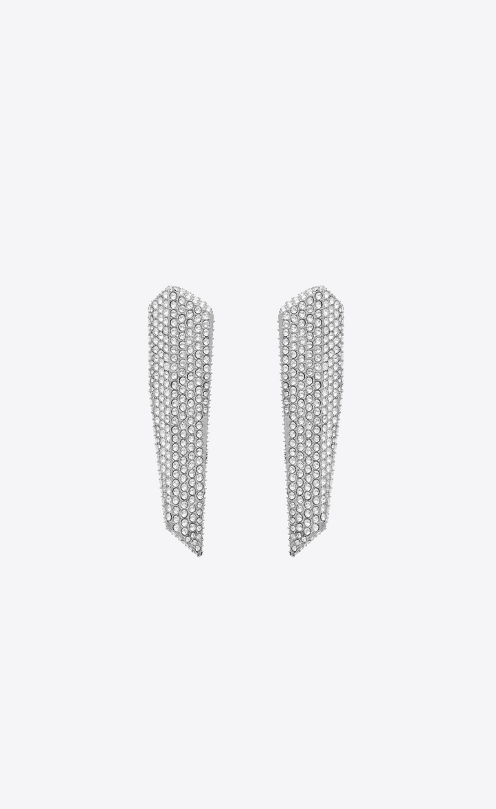 SMOKING stalactite earrings in silver-tone metal with white crystals