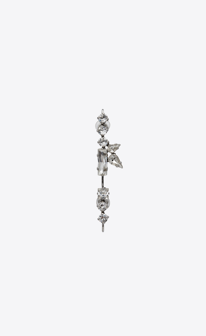 SMOKING long earrings in silver-toned brass and white crystals