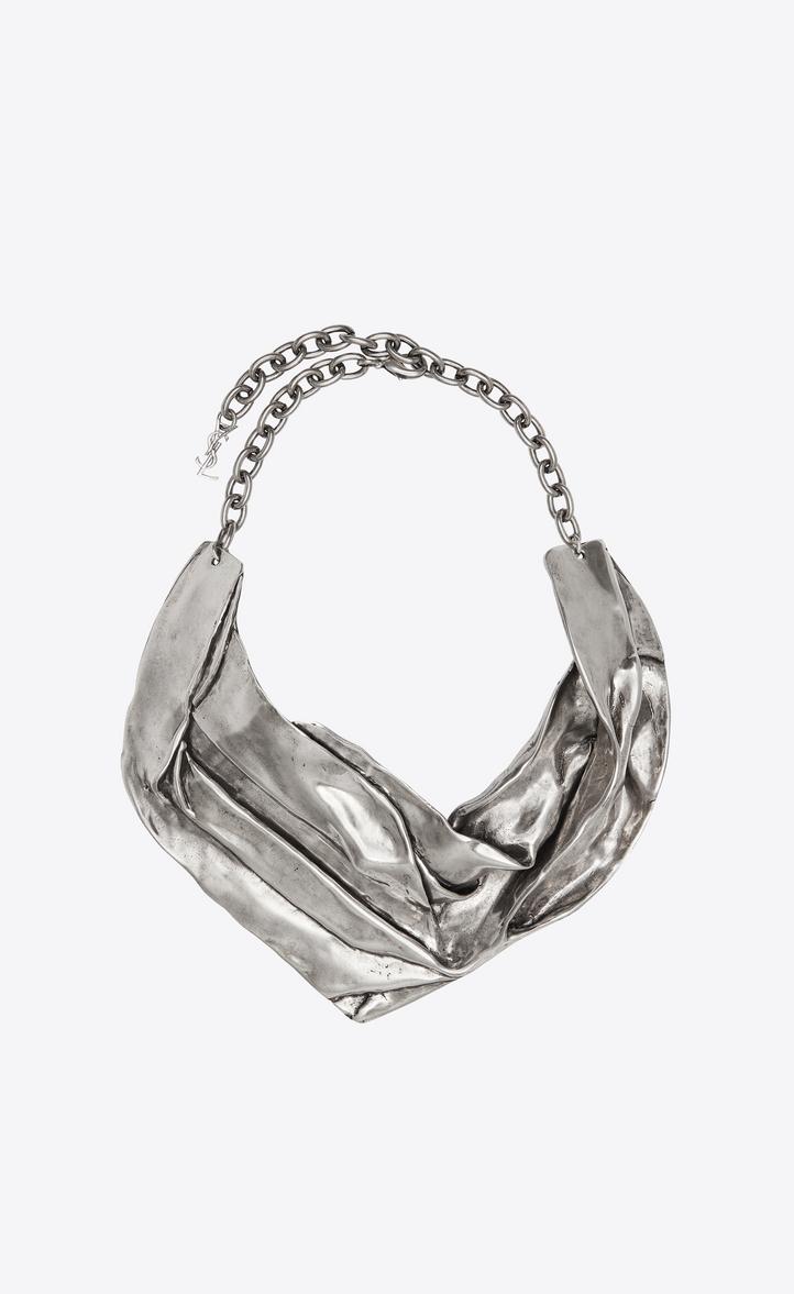 6057cb5c86 Drapee bib necklace in silver-tone metal - Necklaces - Saint Laur...