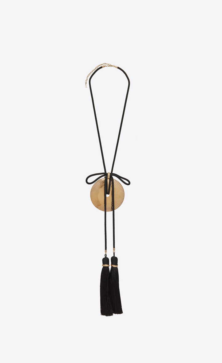 Loulou passementerie necklace in gold metal with black tassels
