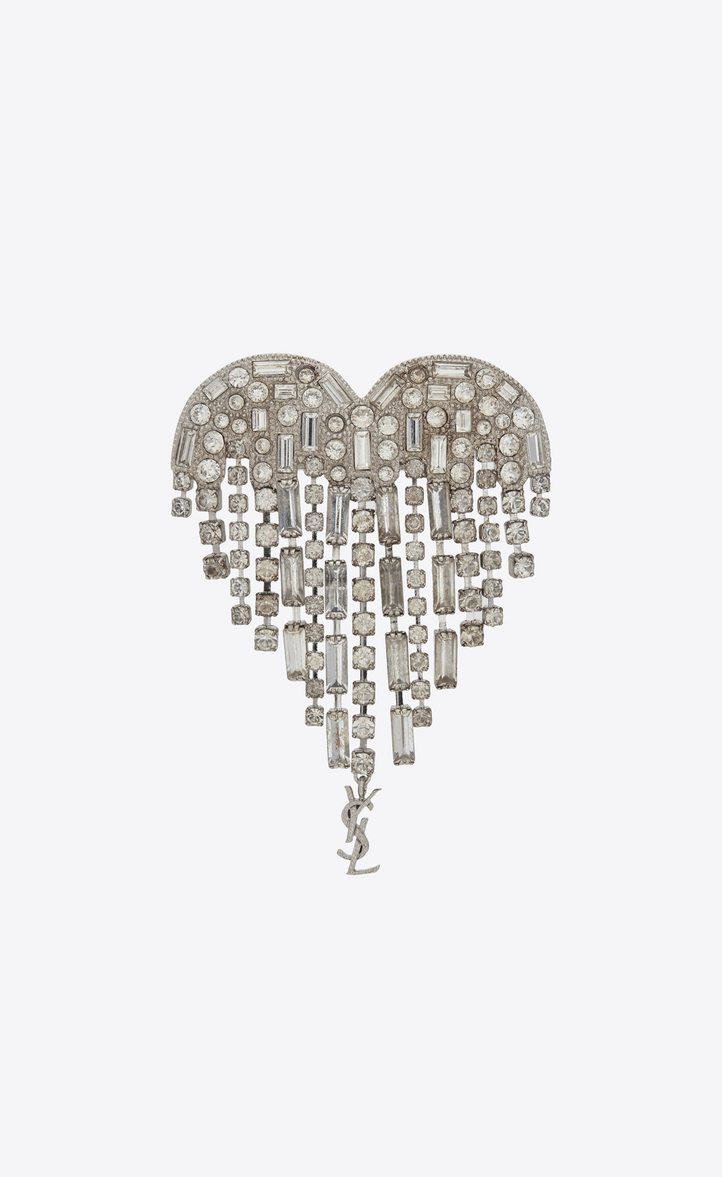 SMOKING shooting heart brooch in brass and white crystals