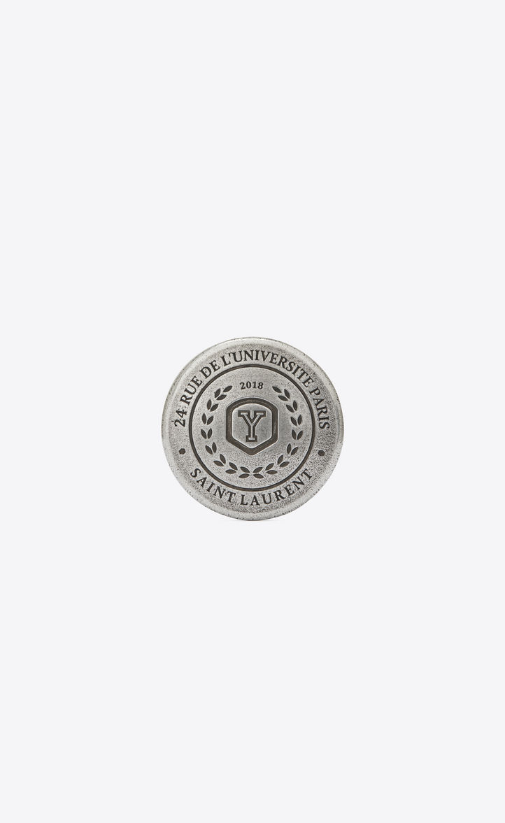 love pins university badge in silver-toned tin