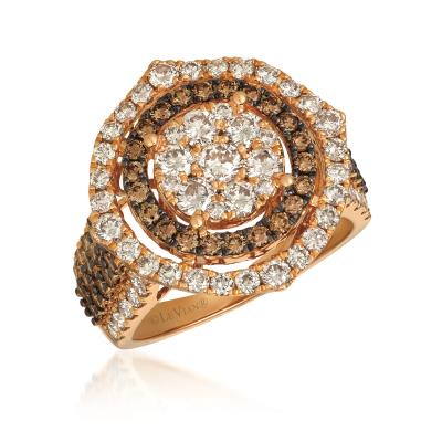 14K Strawberry Gold® Ring with Nude Diamonds™ 1  3/4 cts., Chocolate Diamonds® 7/8 cts.