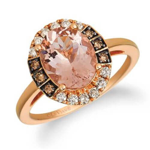14k strawberry gold® peach morganite™ 1  3/4 cts. ring with nude diamonds™ 1/5 cts., chocolate diamonds® 1/10 cts.