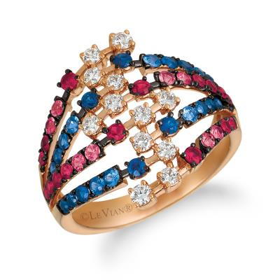 14K Strawberry Gold® Blueberry Sapphire™ 1/2 cts., Passion Ruby™ 1/2 cts. Ring with Vanilla Diamonds® 3/8 cts.
