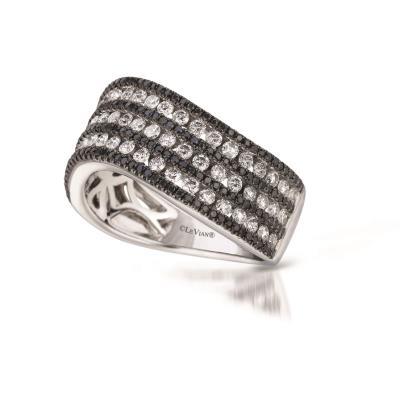 14K Vanilla Gold® Ring with Vanilla Diamonds® 1 cts., Black Diamonds 1/2 cts.