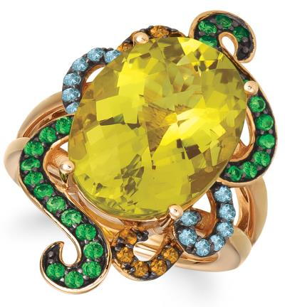 14k strawberry gold® mint julep quartz™ 9  3/4 cts., forest green tsavorite™ 1/2 cts., blue topaz 1/5 cts., cinnamon citrine® 1/8 cts. ring