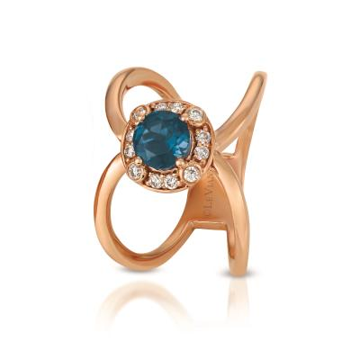 14K Strawberry Gold® Deep Sea Blue Topaz™ 3/4 cts. Ring with Nude Diamonds™ 1/6 cts.