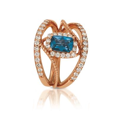 14K Strawberry Gold® Deep Sea Blue Topaz™ 7/8 cts. Ring with Nude Diamonds™ 5/8 cts.