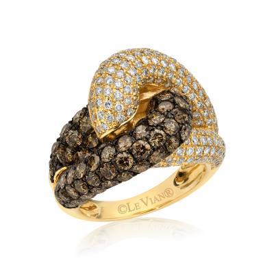 14K Honey Gold™ Ring with Chocolate Diamonds® 3  1/4 cts., Vanilla Diamonds® 1  1/5 cts.