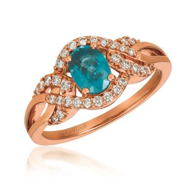 14K Strawberry Gold® Blueberry Zircon™ 7/8 cts. Ring with Vanilla Diamonds® 1/4 cts.